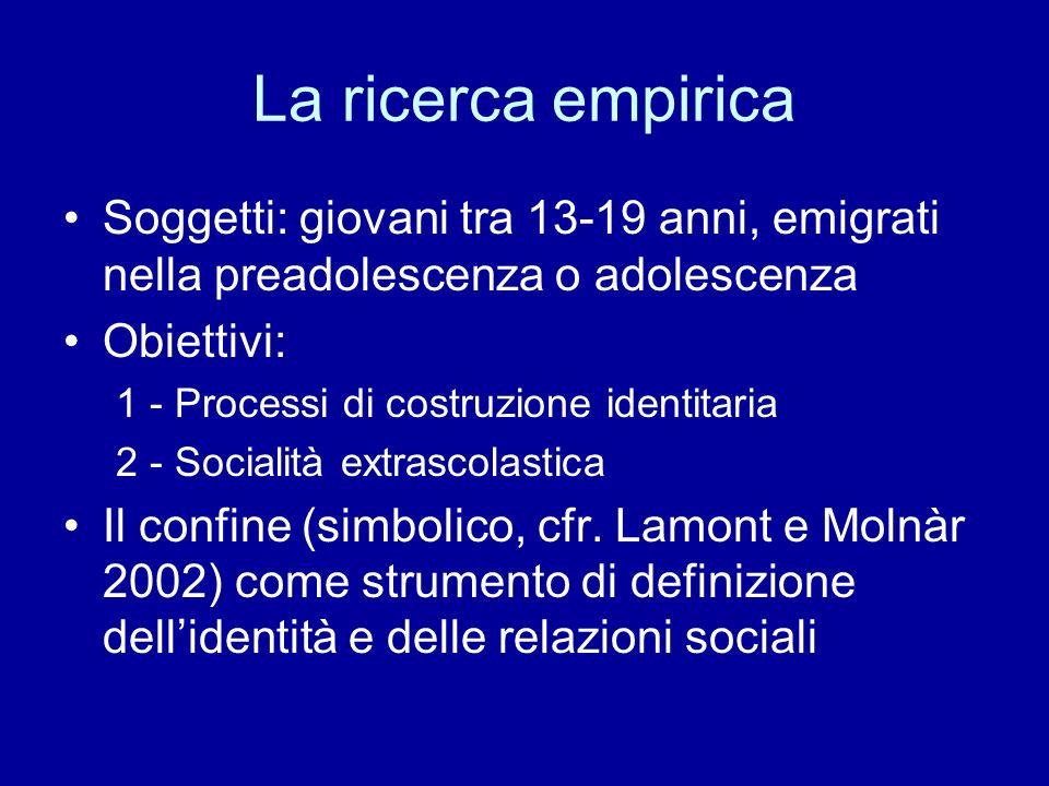 La ricerca empirica Soggetti: giovani tra 13-19 anni, emigrati nella preadolescenza o adolescenza. Obiettivi: