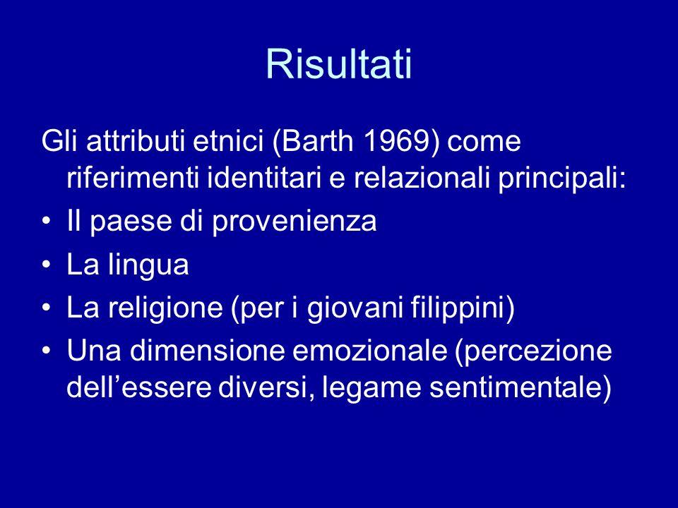 RisultatiGli attributi etnici (Barth 1969) come riferimenti identitari e relazionali principali: Il paese di provenienza.