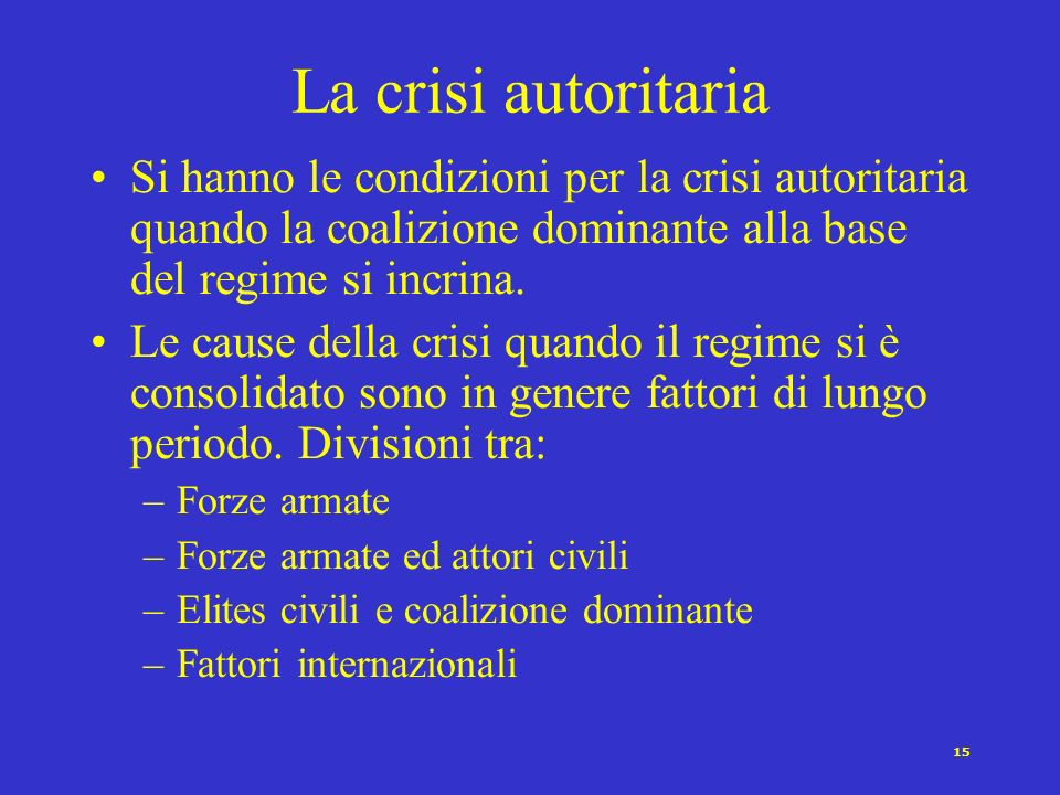 La crisi autoritaria Si hanno le condizioni per la crisi autoritaria quando la coalizione dominante alla base del regime si incrina.