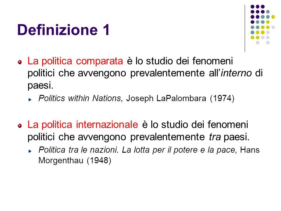 Definizione 1 La politica comparata è lo studio dei fenomeni politici che avvengono prevalentemente all'interno di paesi.