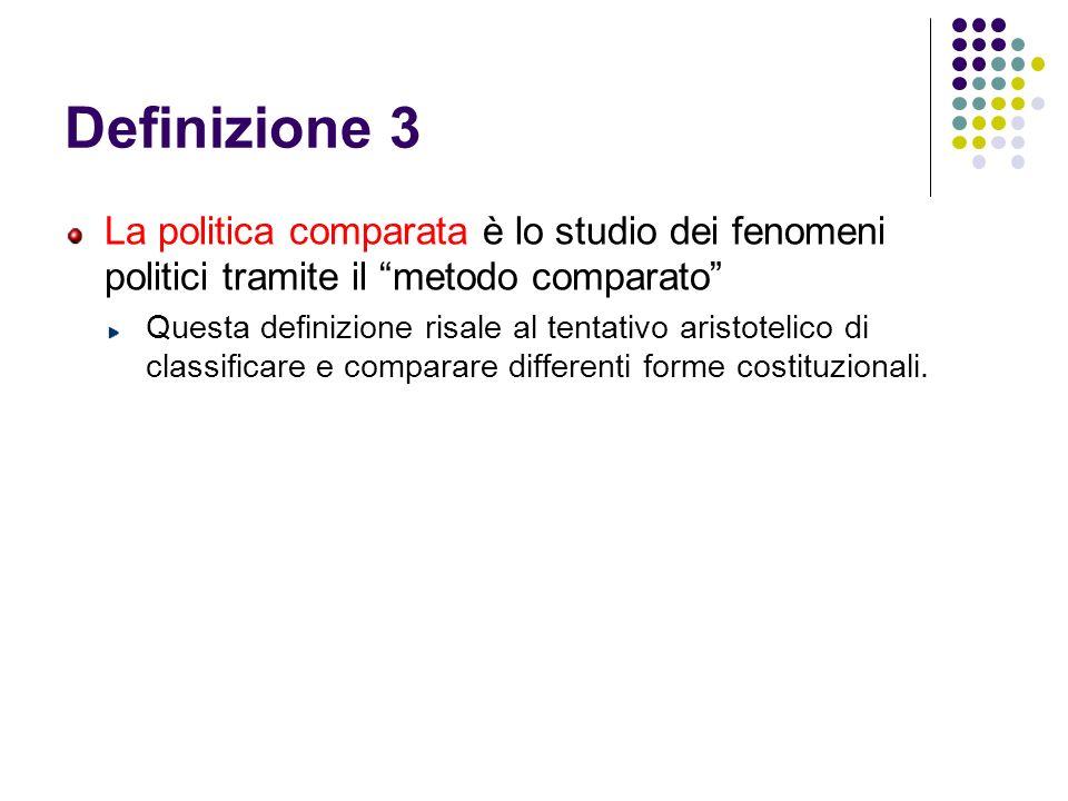 Definizione 3 La politica comparata è lo studio dei fenomeni politici tramite il metodo comparato