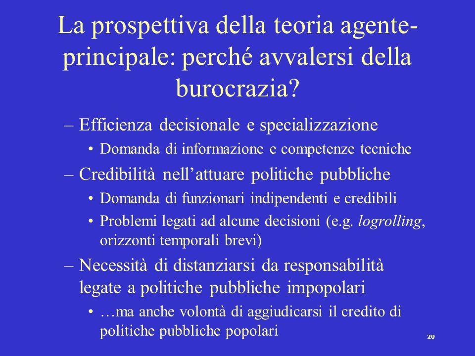 La prospettiva della teoria agente-principale: perché avvalersi della burocrazia