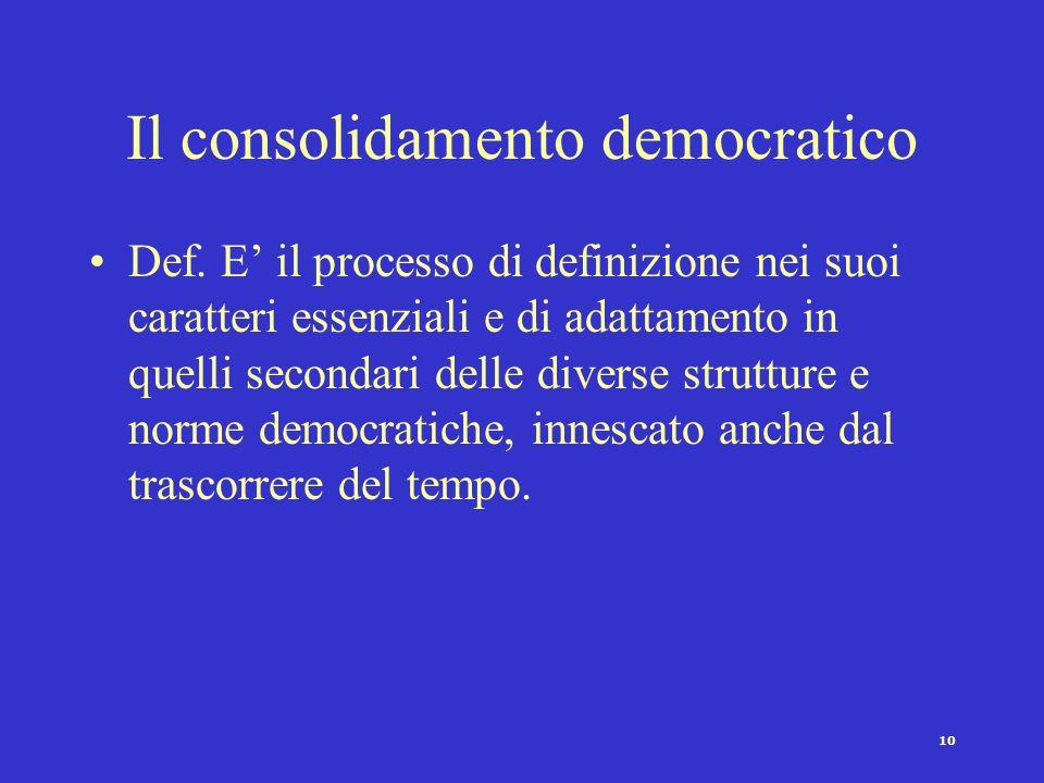 Il consolidamento democratico