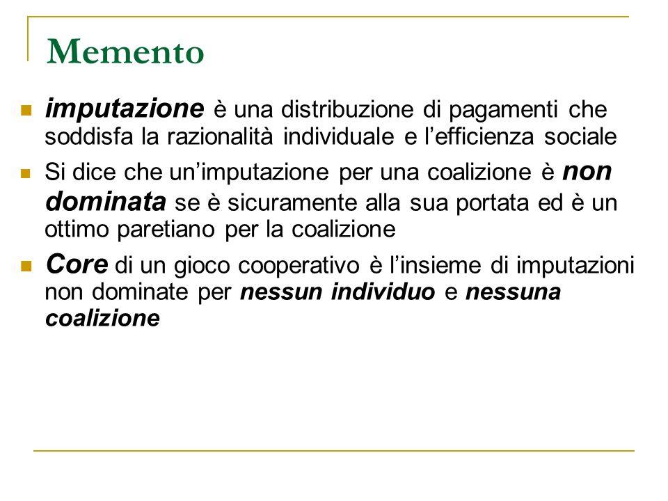 Memento imputazione è una distribuzione di pagamenti che soddisfa la razionalità individuale e l'efficienza sociale.