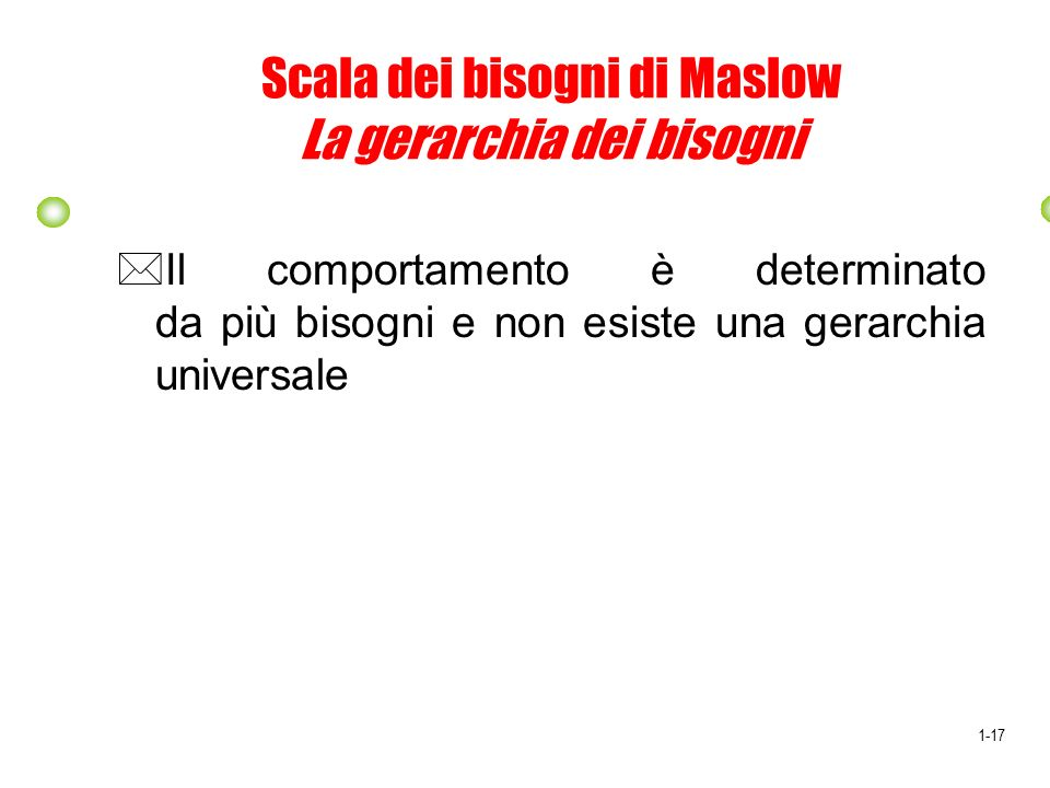 Scala dei bisogni di Maslow La gerarchia dei bisogni