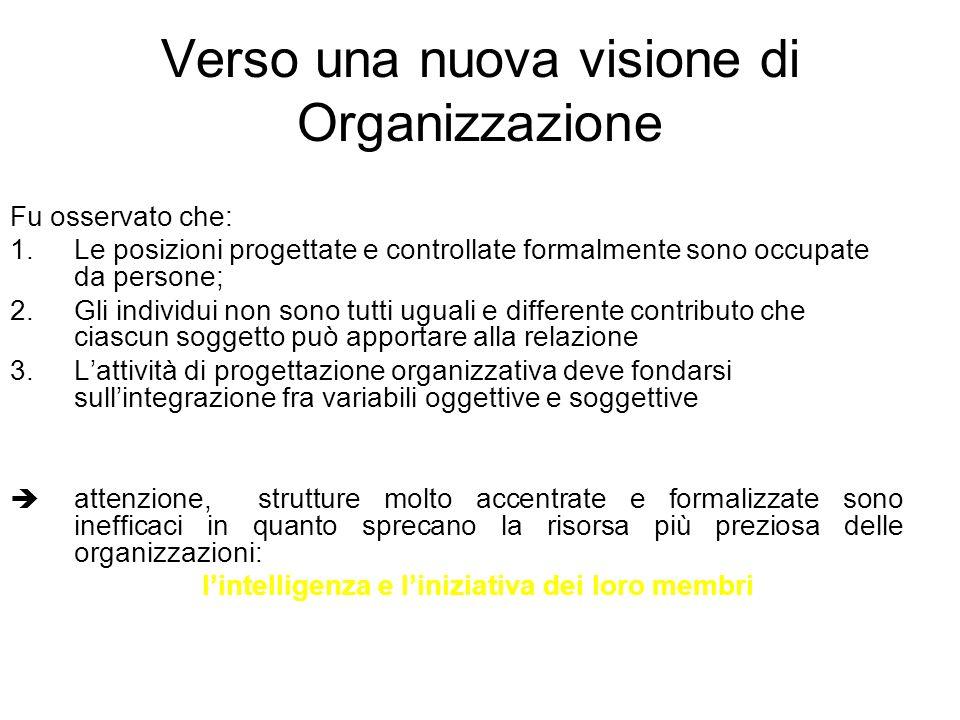 Verso una nuova visione di Organizzazione