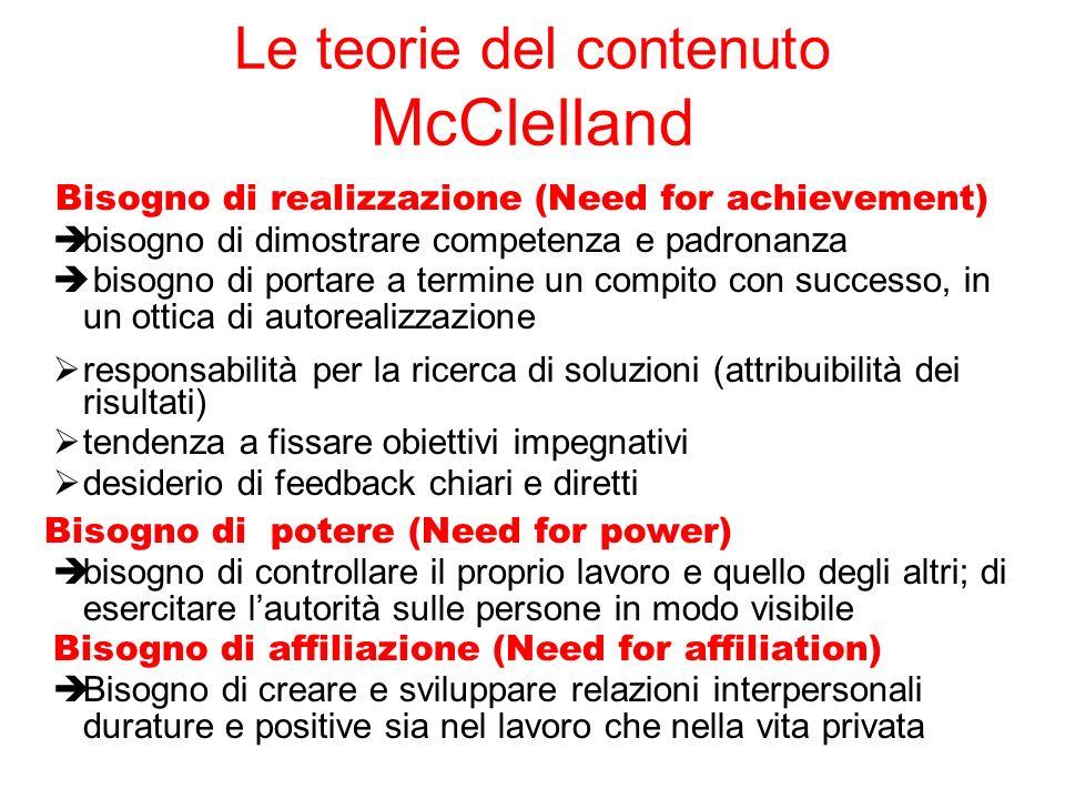 Le teorie del contenuto McClelland