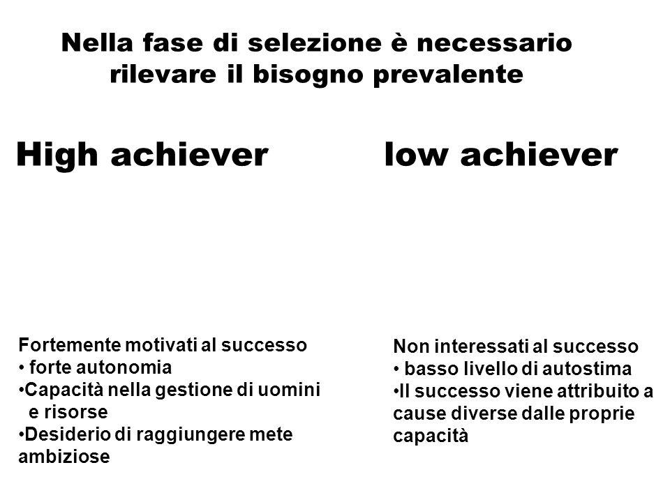 Nella fase di selezione è necessario rilevare il bisogno prevalente High achiever low achiever