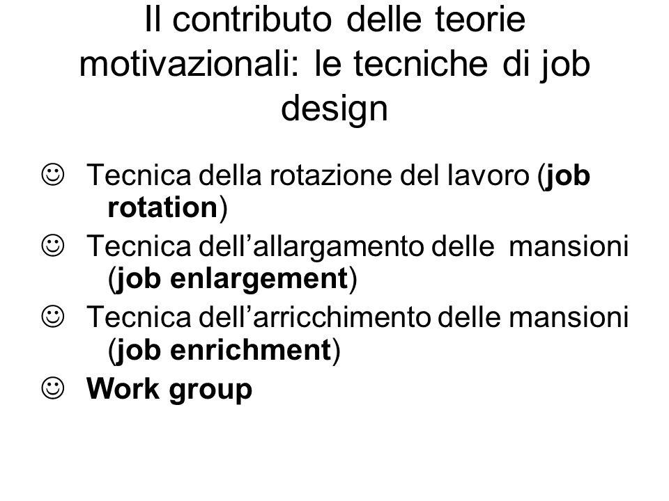 Il contributo delle teorie motivazionali: le tecniche di job design