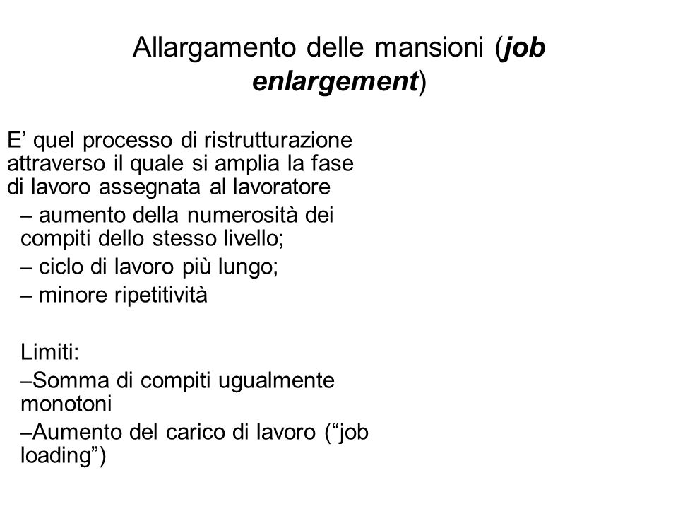Allargamento delle mansioni (job enlargement)