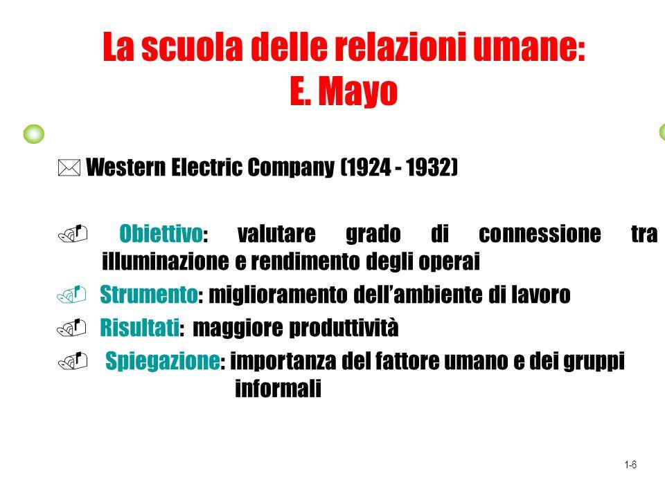 La scuola delle relazioni umane: E. Mayo