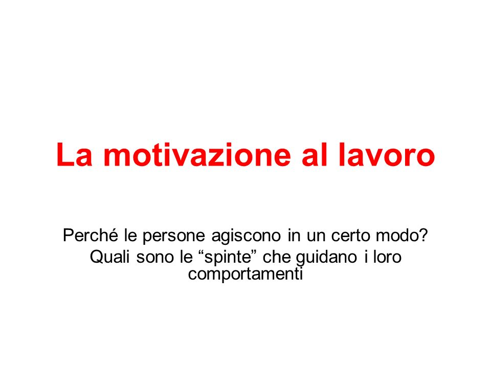 La motivazione al lavoro