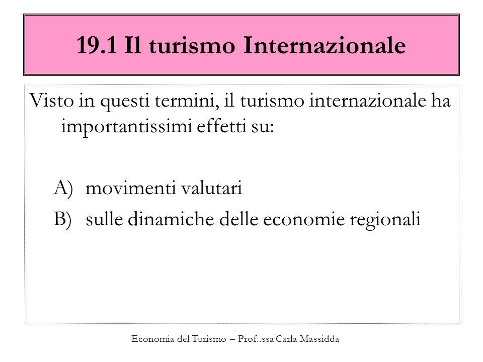19.1 Il turismo Internazionale