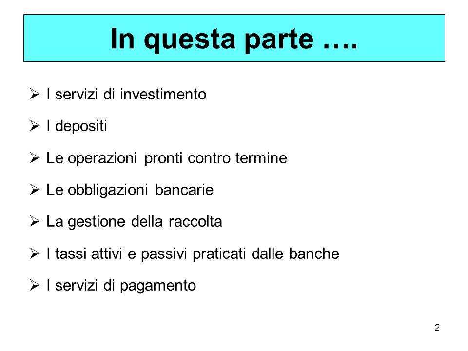 In questa parte …. I servizi di investimento I depositi