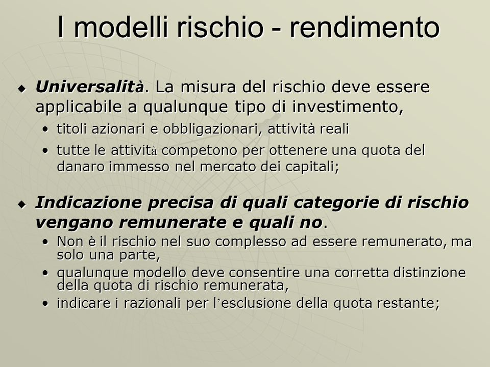 I modelli rischio - rendimento