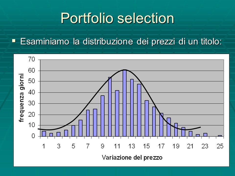 Portfolio selection Esaminiamo la distribuzione dei prezzi di un titolo: