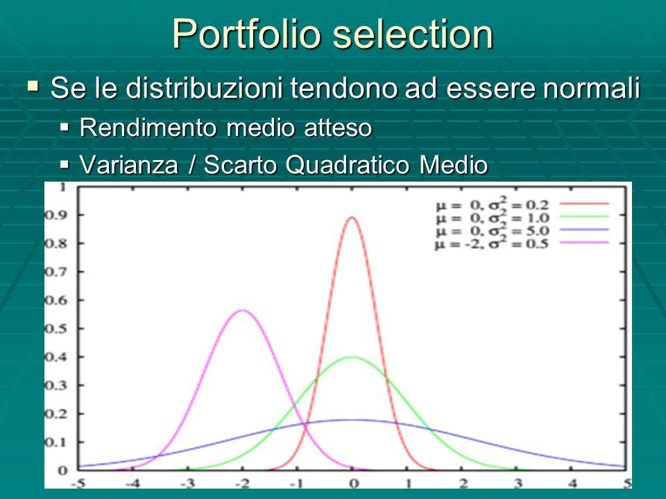 Portfolio selection Se le distribuzioni tendono ad essere normali