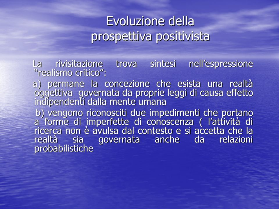 Evoluzione della prospettiva positivista