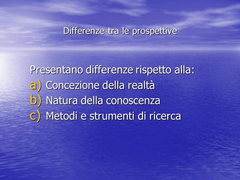 Differenze tra le prospettive