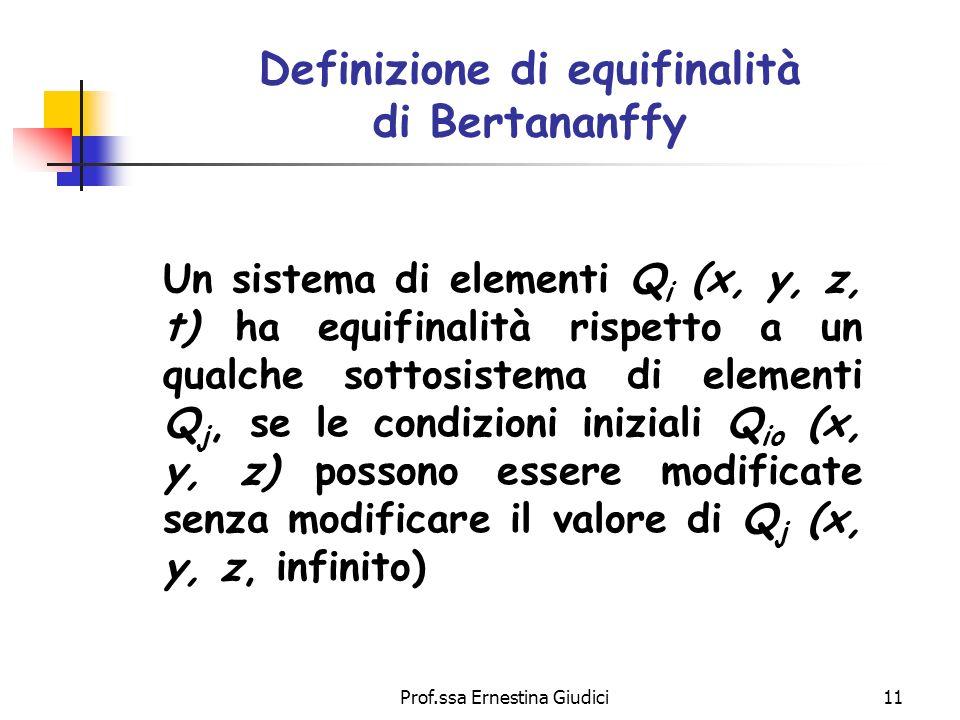 Definizione di equifinalità di Bertananffy
