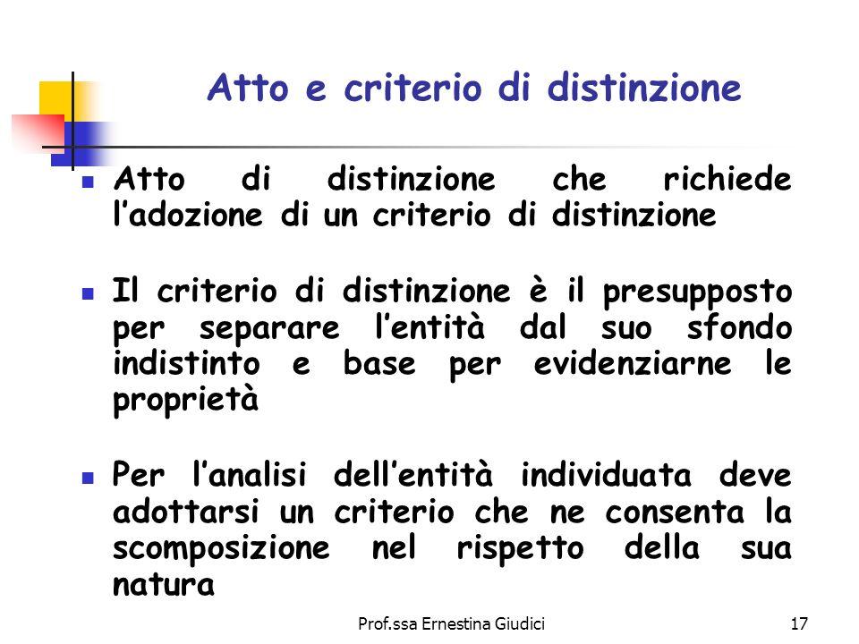 Atto e criterio di distinzione