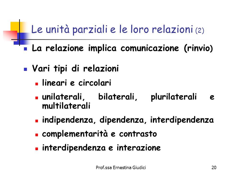 Le unità parziali e le loro relazioni (2)