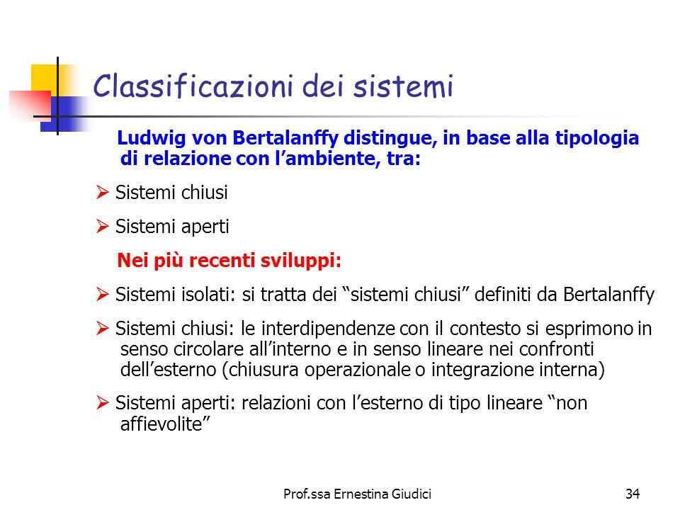 Classificazioni dei sistemi