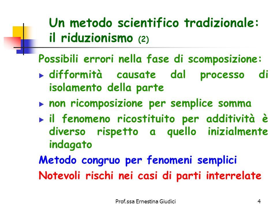 Un metodo scientifico tradizionale: il riduzionismo (2)