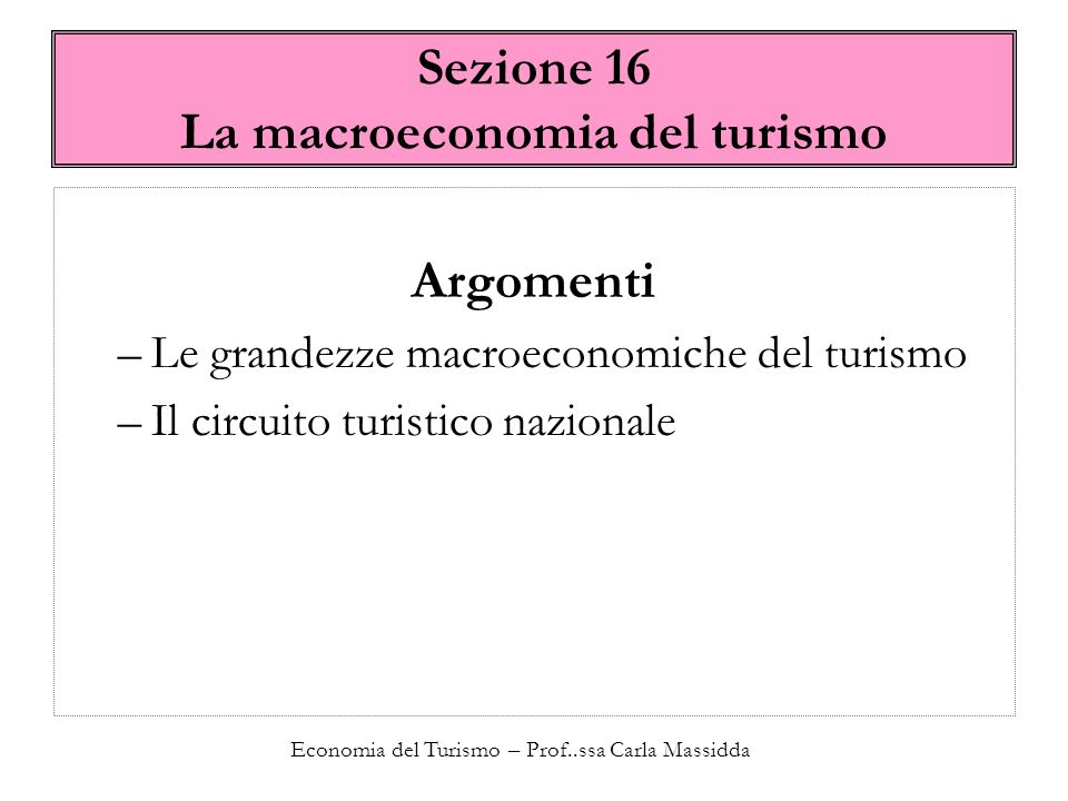 Sezione 16 La macroeconomia del turismo