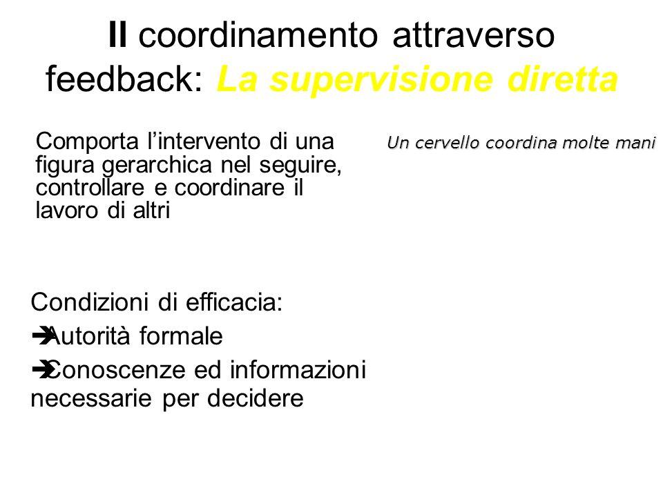 Il coordinamento attraverso feedback: La supervisione diretta