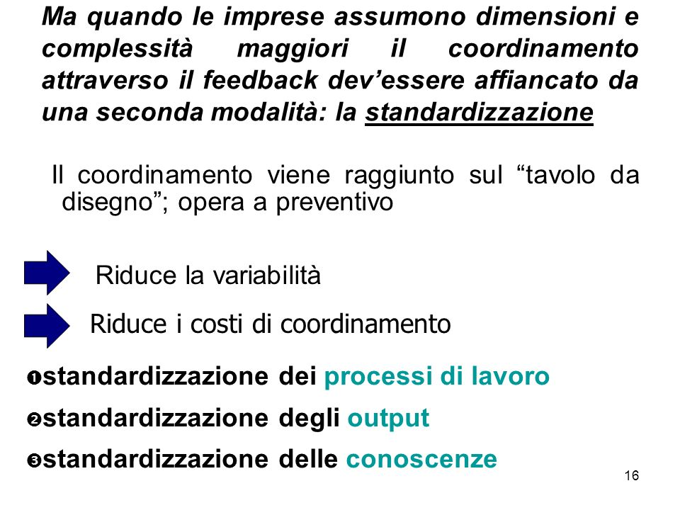 Ma quando le imprese assumono dimensioni e complessità maggiori il coordinamento attraverso il feedback dev'essere affiancato da una seconda modalità: la standardizzazione