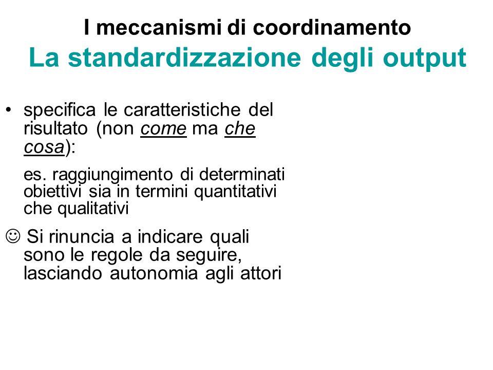 I meccanismi di coordinamento La standardizzazione degli output