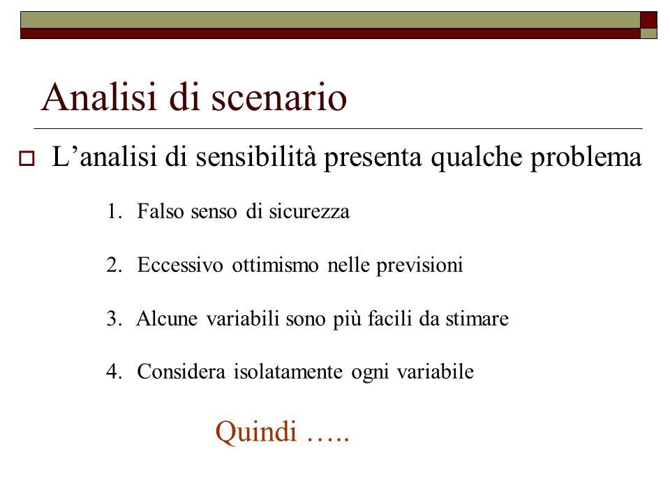 Analisi di scenario L'analisi di sensibilità presenta qualche problema