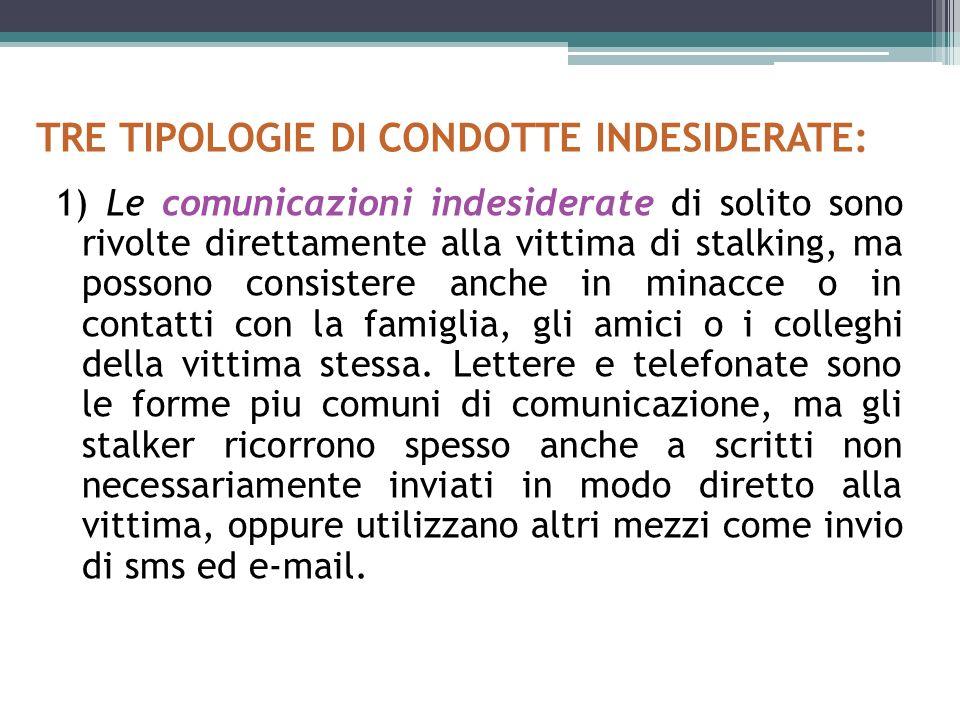 TRE TIPOLOGIE DI CONDOTTE INDESIDERATE: