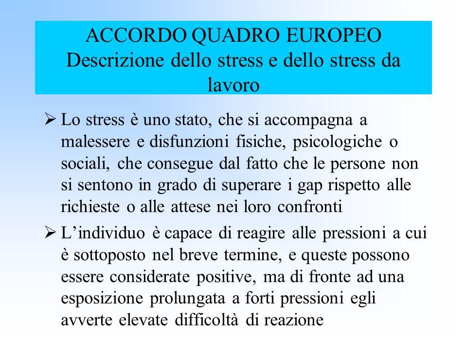 ACCORDO QUADRO EUROPEO Descrizione dello stress e dello stress da lavoro