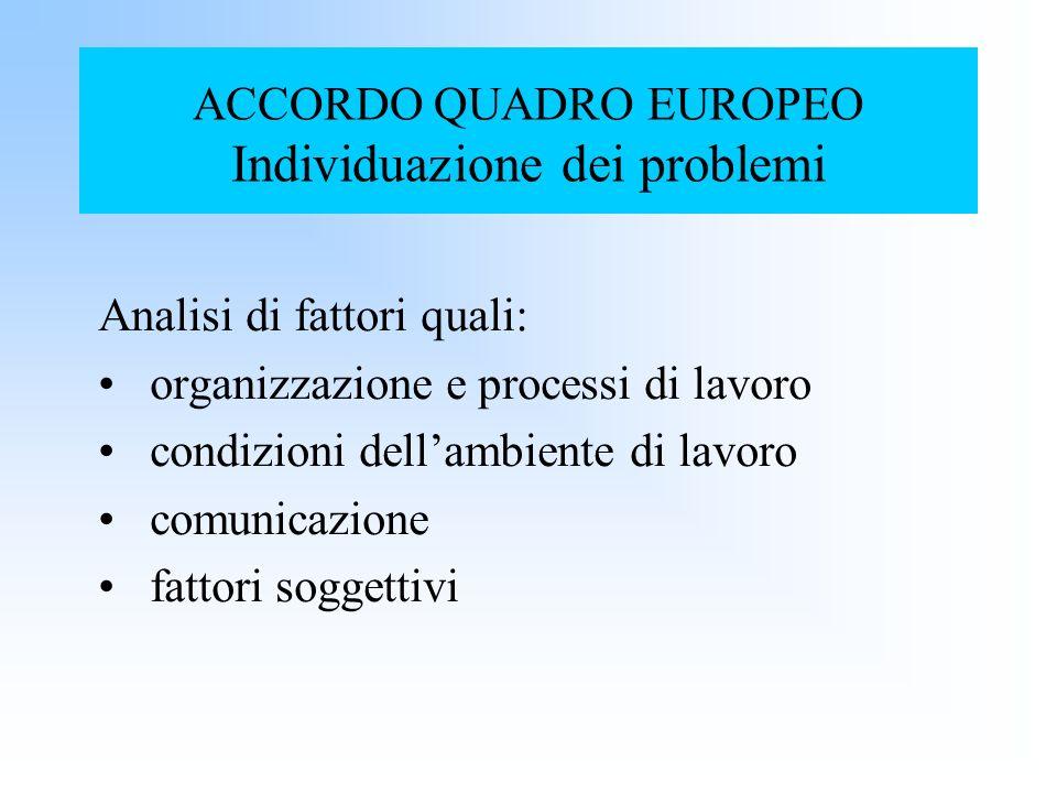 ACCORDO QUADRO EUROPEO Individuazione dei problemi