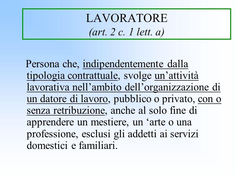 LAVORATORE (art. 2 c. 1 lett. a)