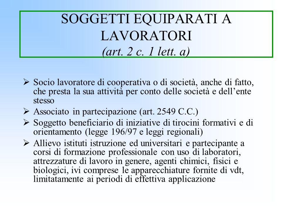 SOGGETTI EQUIPARATI A LAVORATORI (art. 2 c. 1 lett. a)