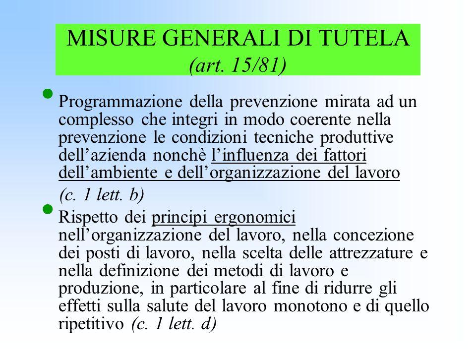 MISURE GENERALI DI TUTELA (art. 15/81)