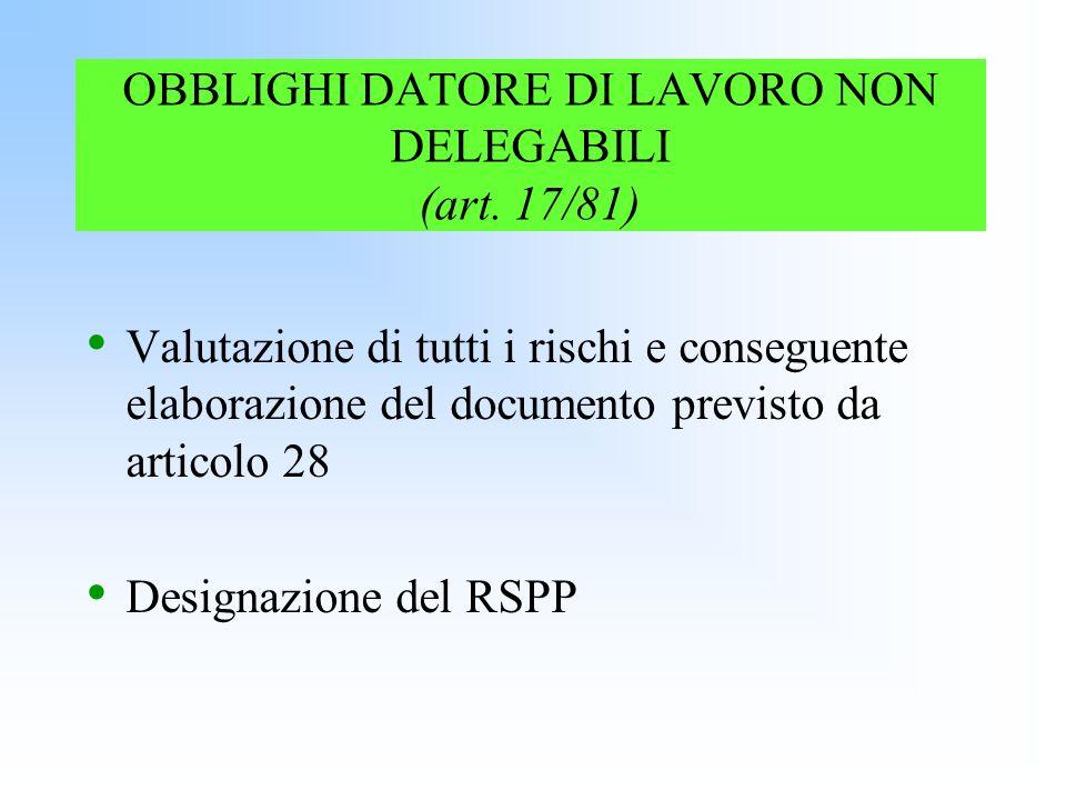 OBBLIGHI DATORE DI LAVORO NON DELEGABILI (art. 17/81)