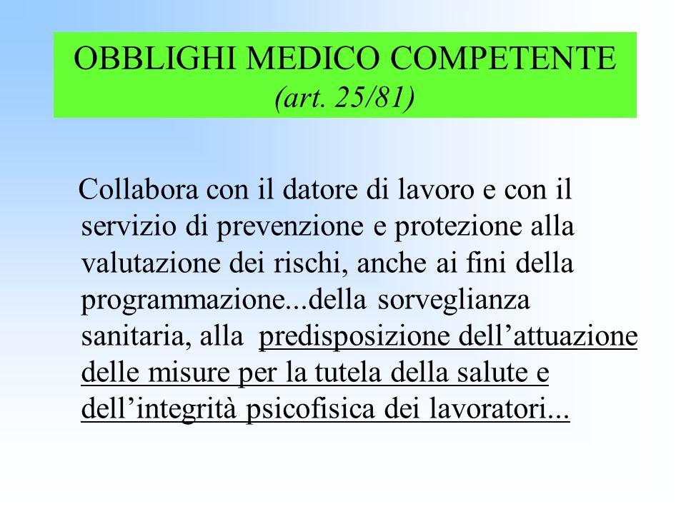 OBBLIGHI MEDICO COMPETENTE (art. 25/81)