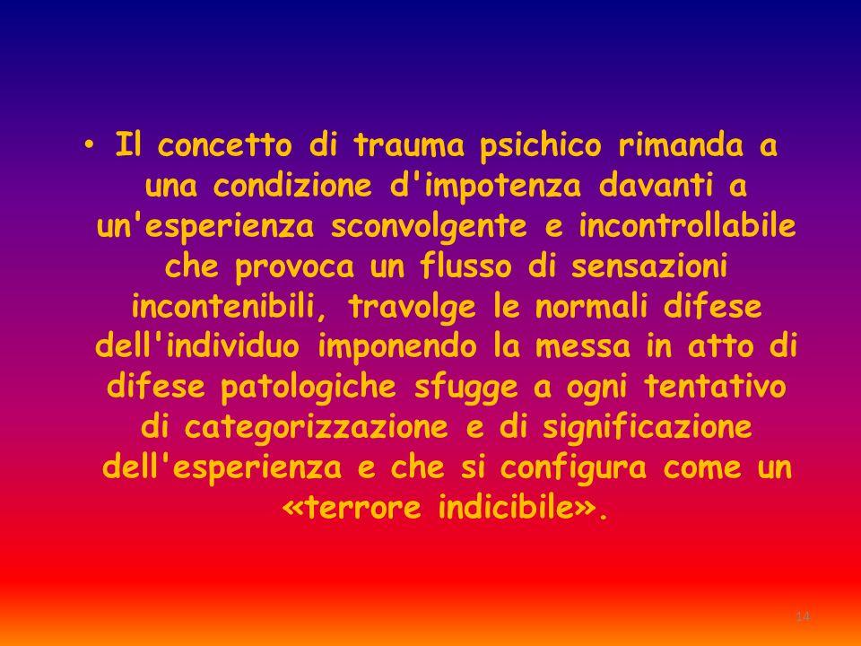 Il concetto di trauma psichico rimanda a una condizione d impotenza davanti a un esperienza sconvolgente e incontrollabile che provoca un flusso di sensazioni incontenibili, travolge le normali difese dell individuo imponendo la messa in atto di difese patologiche sfugge a ogni tentativo di categorizzazione e di significazione dell esperienza e che si configura come un «terrore indicibile».
