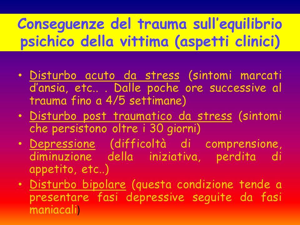 Conseguenze del trauma sull'equilibrio psichico della vittima (aspetti clinici)