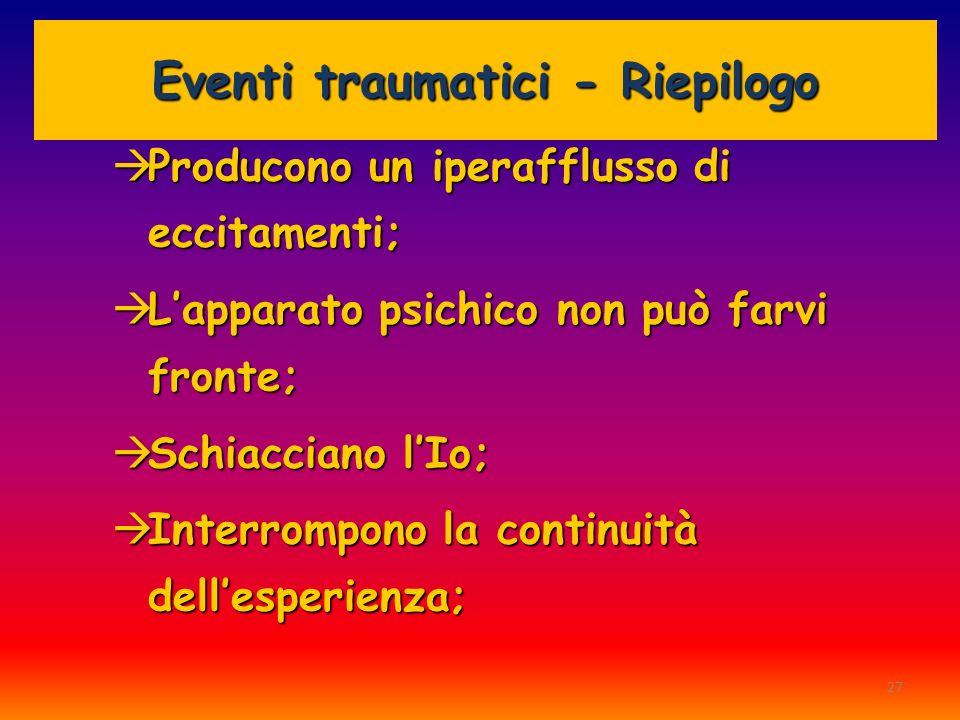 Eventi traumatici - Riepilogo