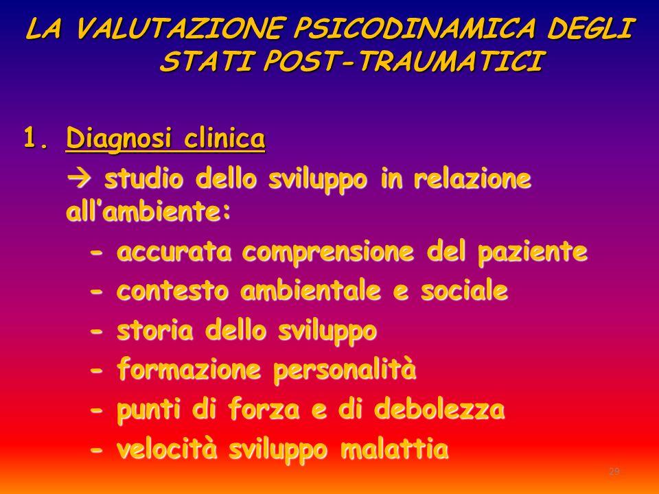 LA VALUTAZIONE PSICODINAMICA DEGLI STATI POST-TRAUMATICI