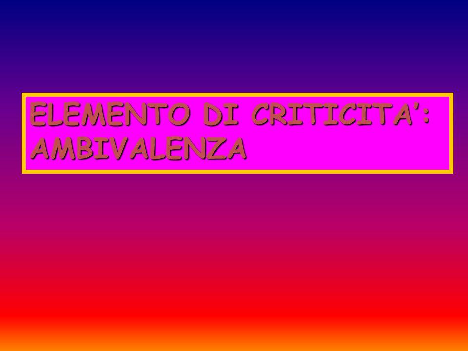 ELEMENTO DI CRITICITA': AMBIVALENZA
