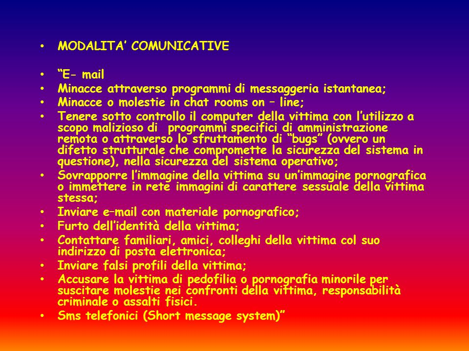 MODALITA' COMUNICATIVE