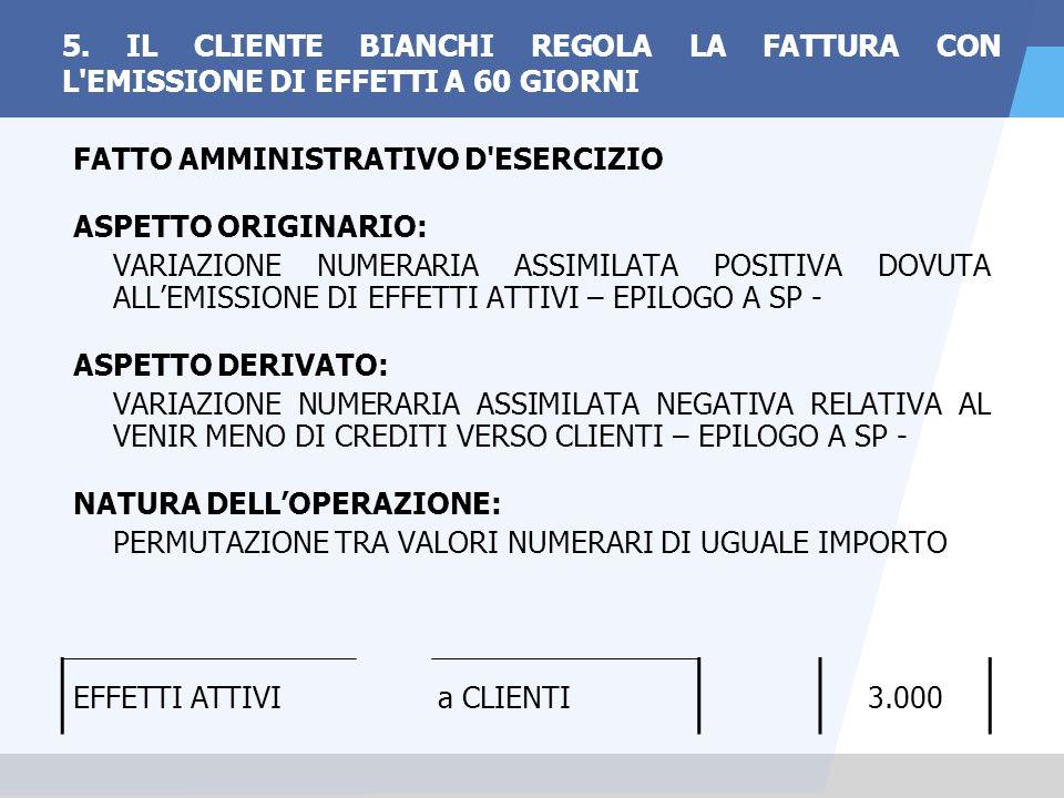 5. IL CLIENTE BIANCHI REGOLA LA FATTURA CON L EMISSIONE DI EFFETTI A 60 GIORNI