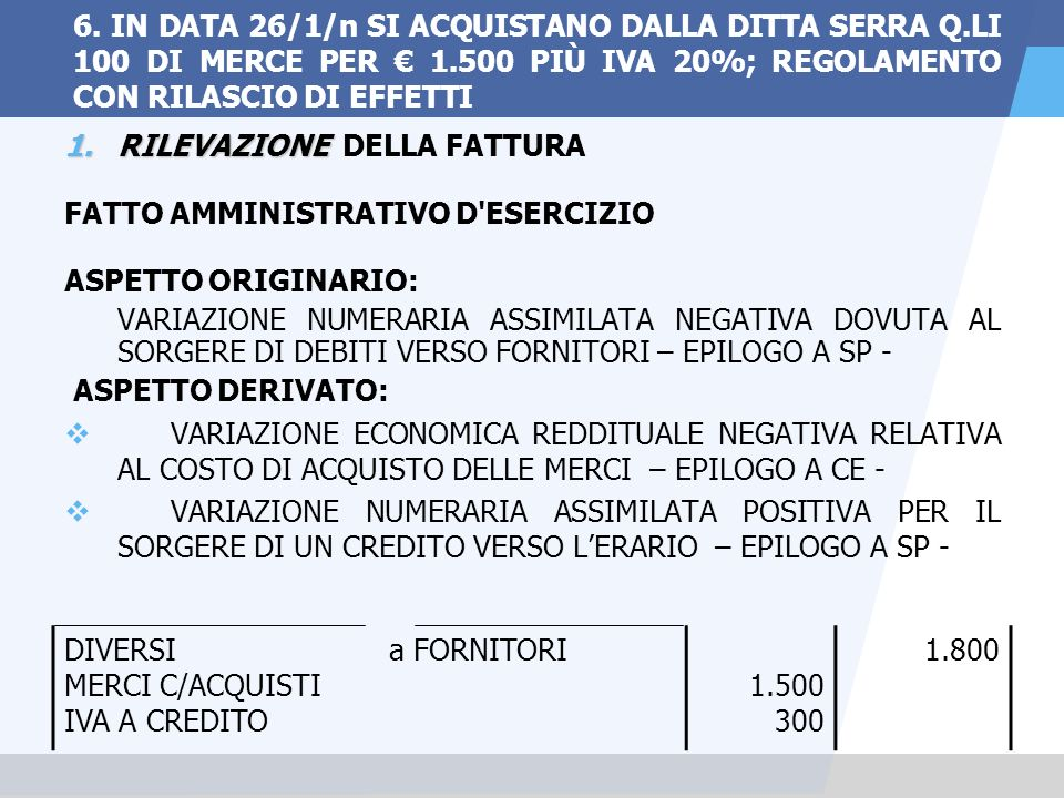 6. IN DATA 26/1/n SI ACQUISTANO DALLA DITTA SERRA Q