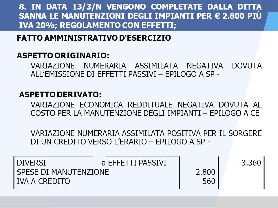 8. IN DATA 13/3/N VENGONO COMPLETATE DALLA DITTA SANNA LE MANUTENZIONI DEGLI IMPIANTI PER € 2.800 PIÙ IVA 20%; REGOLAMENTO CON EFFETTI;